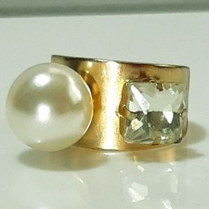 NEW Pearl & Rhinestone Wide band gold Cuff Ring